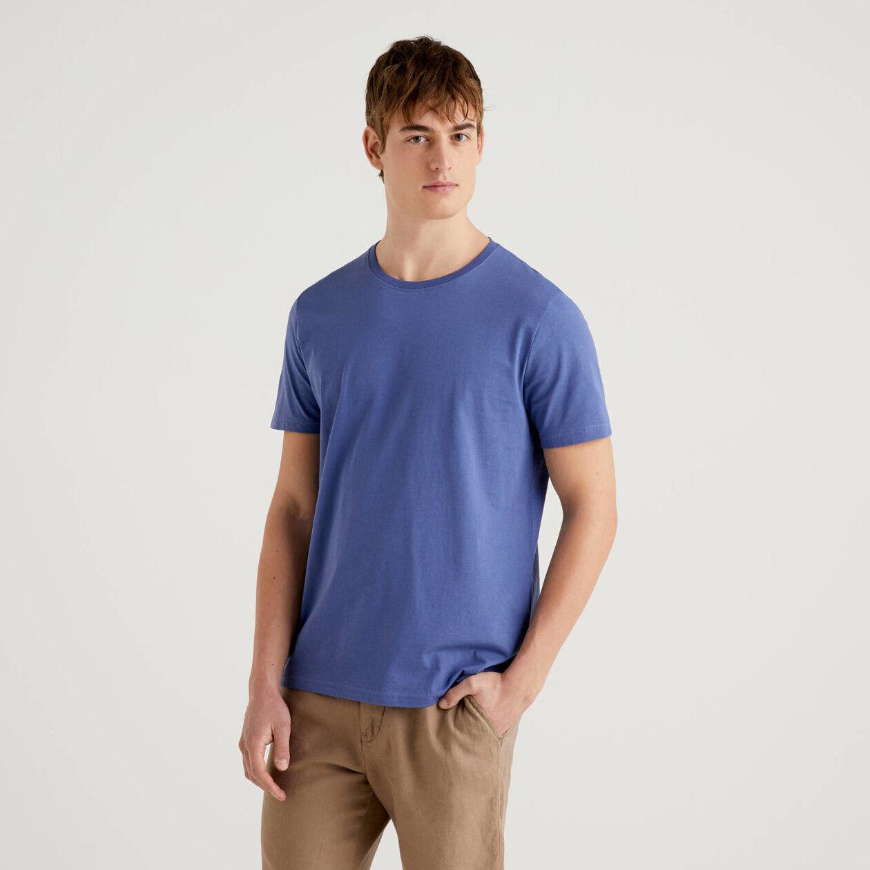 Pastellblaues T-Shirt aus reiner Baumwolle
