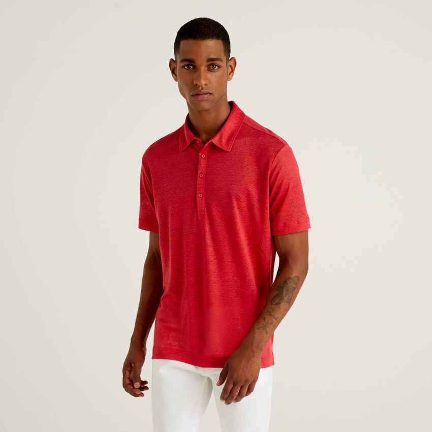 Kurzärmeliges Poloshirt aus reinem Leinen