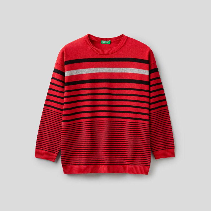 Gestreifter Pullover aus einer Mischung aus Baumwolle und Wolle