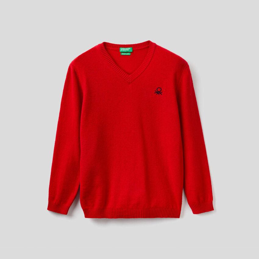 Pullover in einer Mischung aus Wolle und Cashmere mit V-Ausschnitt